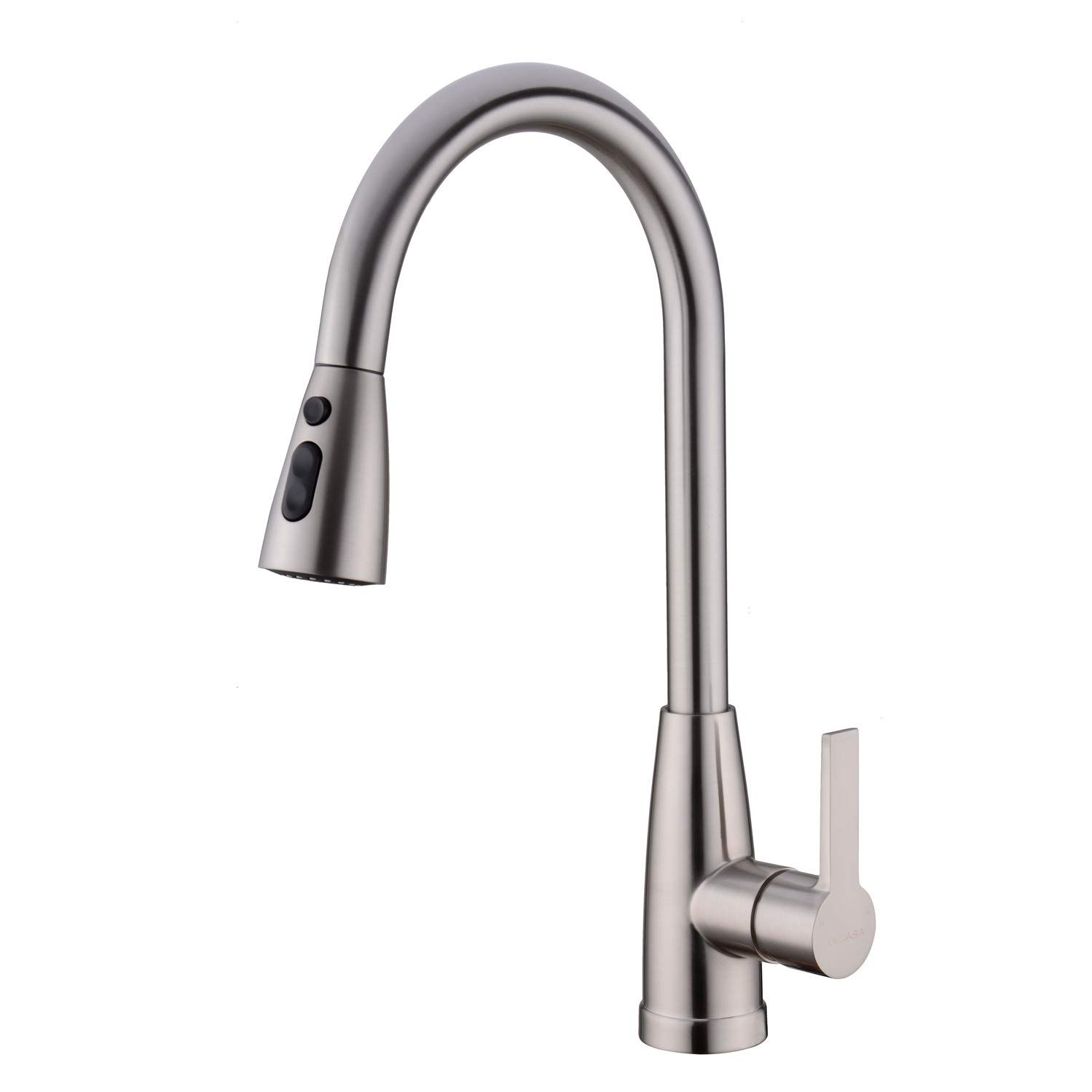 Gicasa Modern Single Lever Brushed Nickel Kitchen Faucet Pull Out