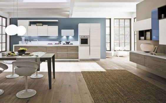 Abbinamento colori pareti cucina - Abbinamento bianco e azzurro