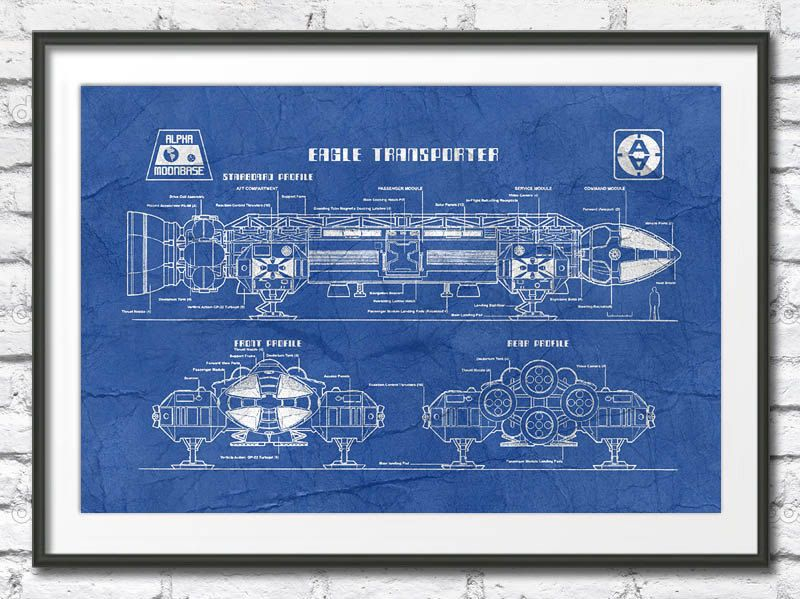 Space1999 eagle vintage blueprint poster science fictiontv series space1999 eagle vintage blueprint poster science fictiontv series wall art high resolution image size malvernweather Choice Image
