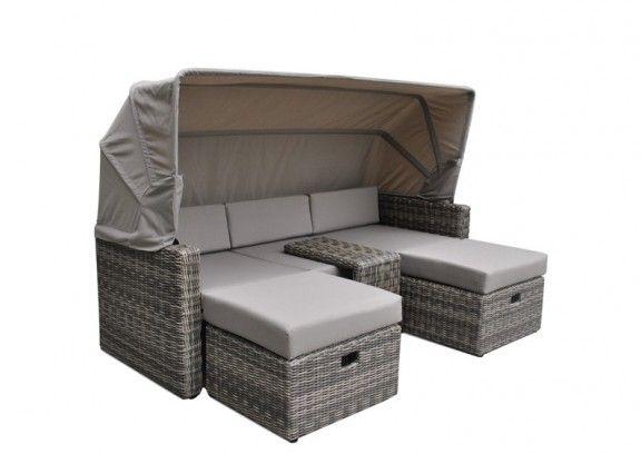 Rattan Loungemöbel Hannover 3 Sitzer Mit Sonnenverdeck   Farbe: Grau  Braun Meliert