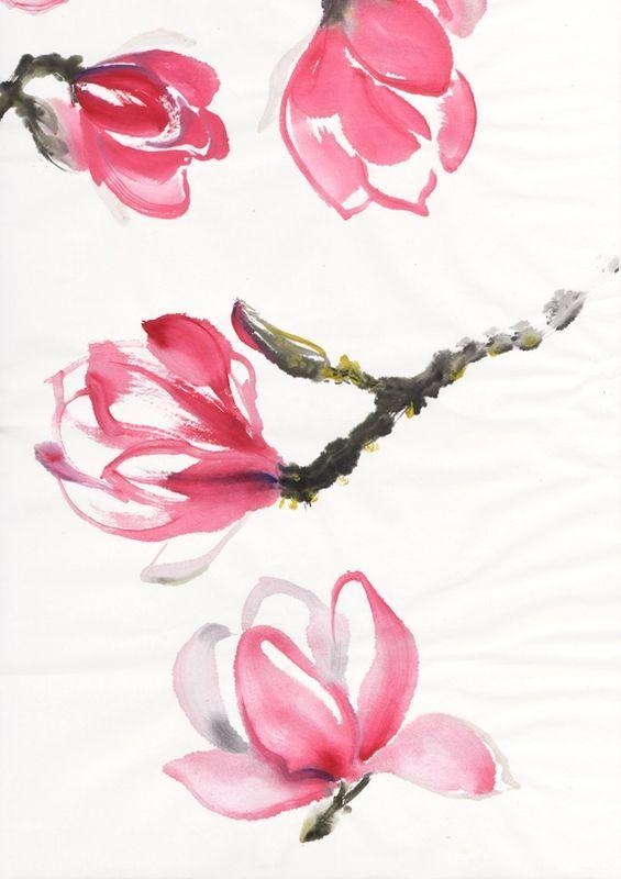 Magnolias Dessin Fleur Peinture Fleurs Dessin Japonais