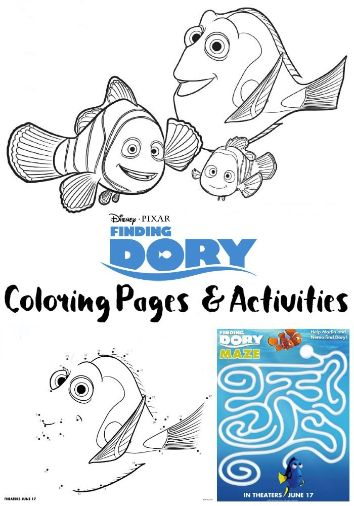 Free Finding Dory Coloring Pages and Activity Sheets Finding dory