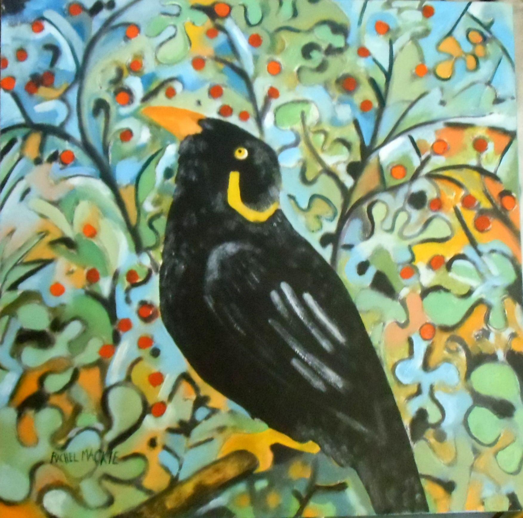 Oil on board portrait of my Mynah bird Jungly