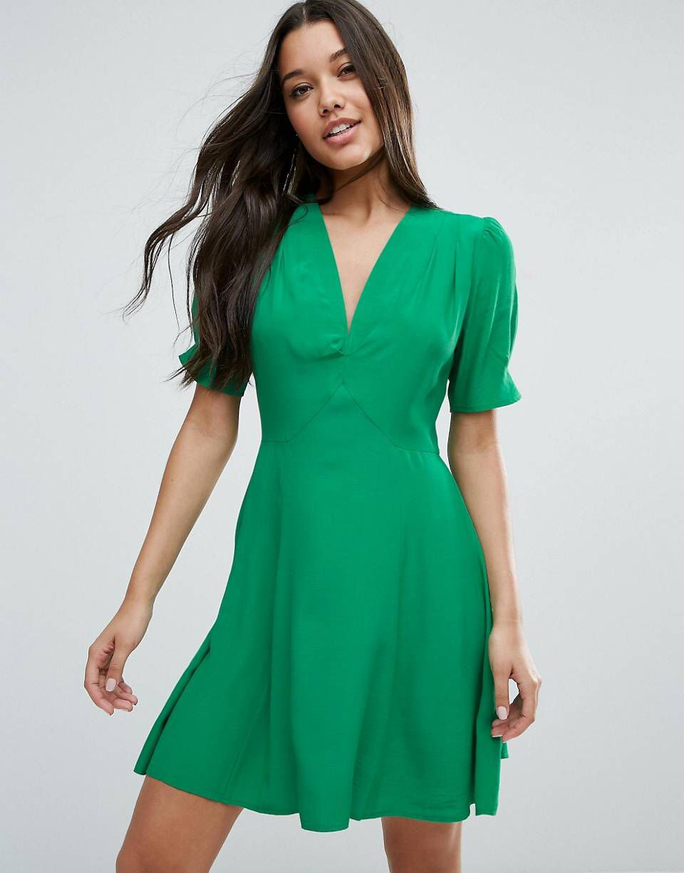 Love This From Asos Green Tea Dresses Tea Dress Green Mini Dress