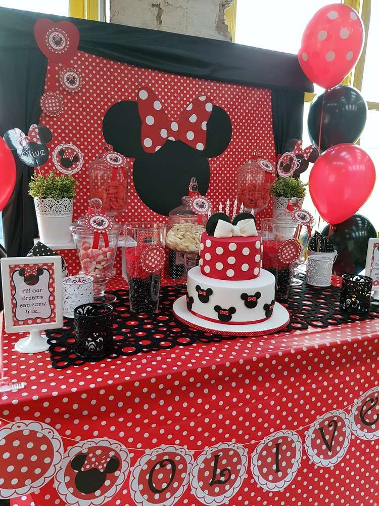 Olive S Red Minnie Mouse Party Catchmyparty Com Projects
