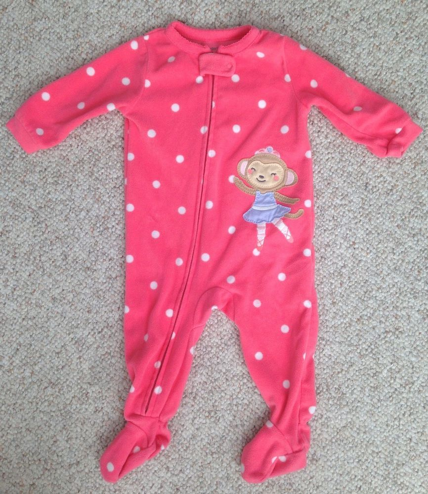 b57853e3551 6 month CARTERS FLEECE SLEEPER Zip Up Front Polkadot Pink White Monkey  Pajamas  Carters