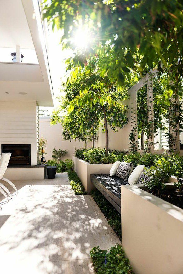 garten gestaltung gartenbank pflanzen dekokissen gartenmöbel - vorgarten moderne gestaltung