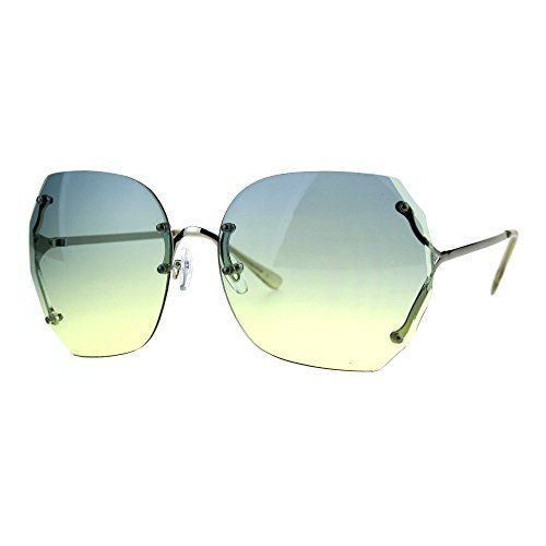 8f3aee23035 PASTL Womens Oversized Rimless Sunglasses Ombre Gradient Beveled Wave Cut  Lens
