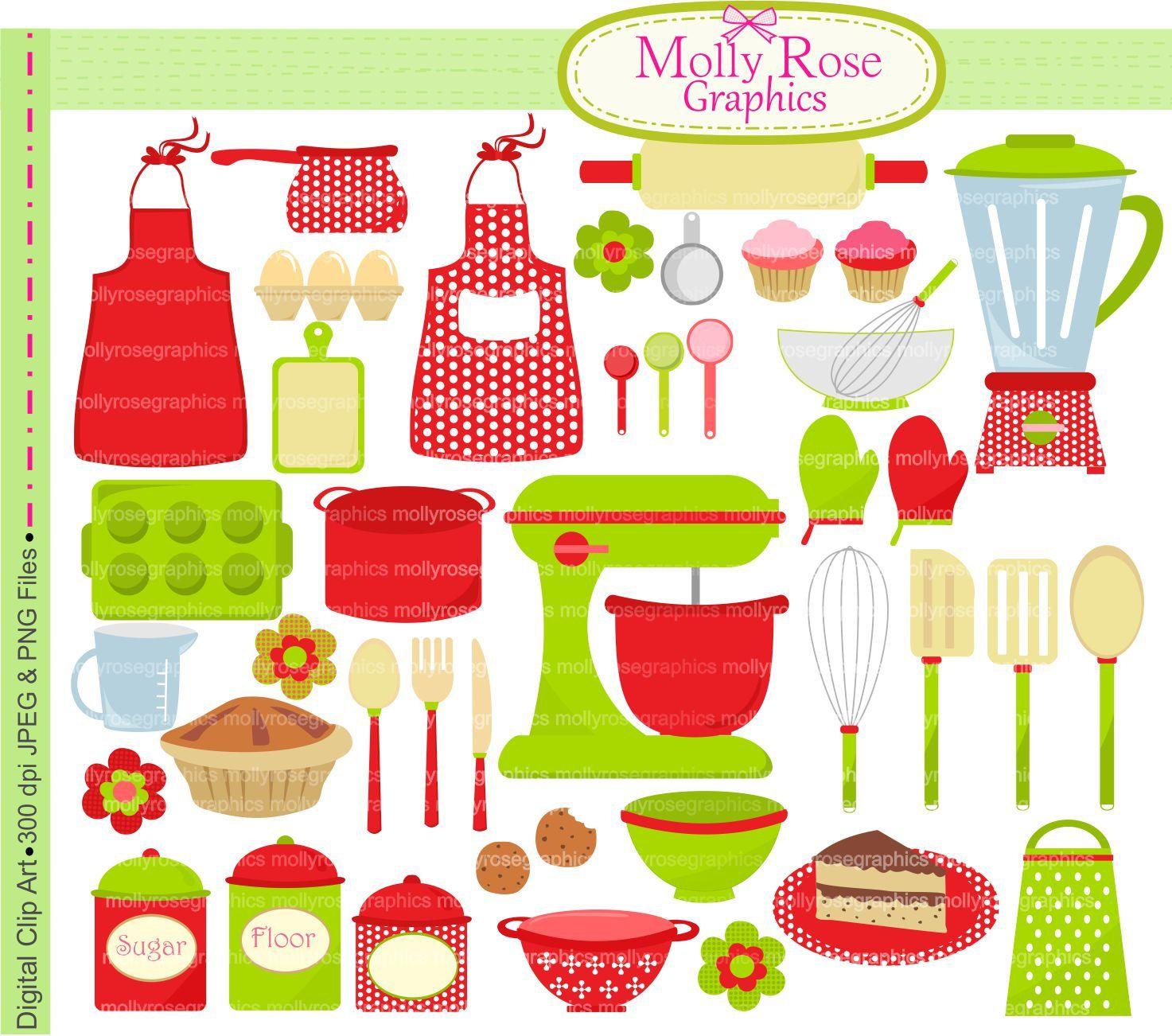 Kitchen utensils drawing for kids - Digital Clip Art Christmas Cooking Baking Clip Art Bake Cooking Utensils Clip Art