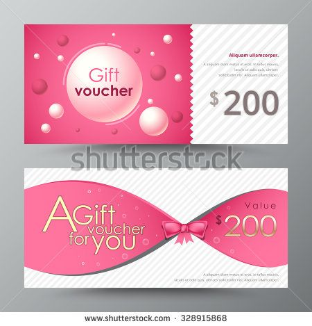 Gift Voucher Template Promotion Card Coupon Design Vector Stock