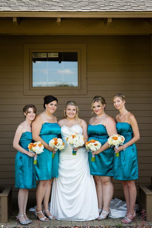 Teal Bridesmaid Dress White Orange And Yellow Bouquets
