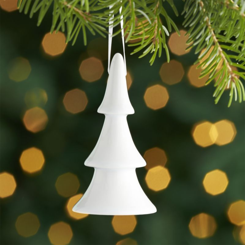 Shop White Porcelain Tree Ornament. Our simply modern ornaments ...