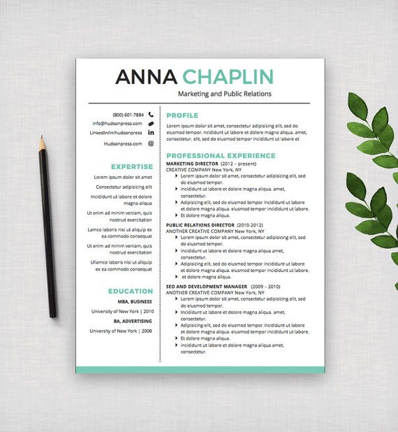 resume template cv template cover letter letterhead stationery ms word - Letterhead Resume Cover Letter