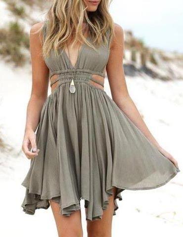 Fashion A-Line Deep V-Neck Sleeveless Chiffon Short Homecoming Dress With Pleats 3