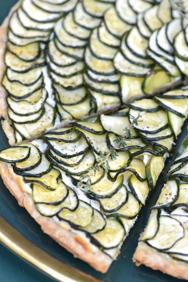zucchini and goat cheese tart looks tricky but it's