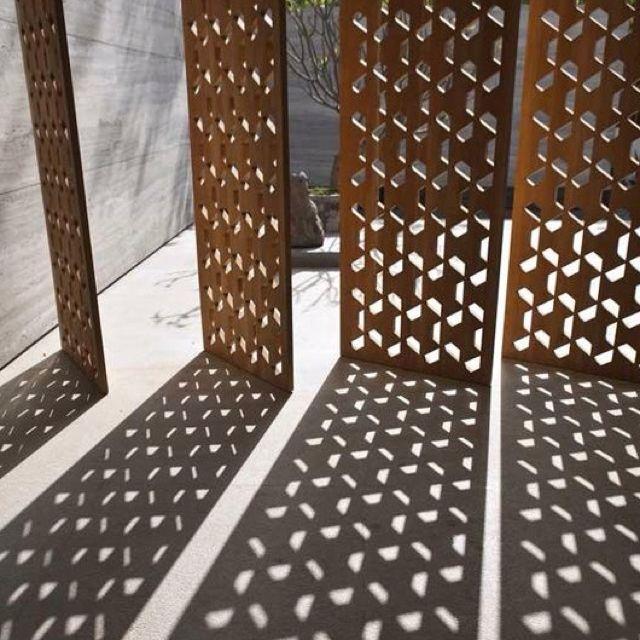 Corten Steel Laser Cut Screen, Planter Box Cube Design