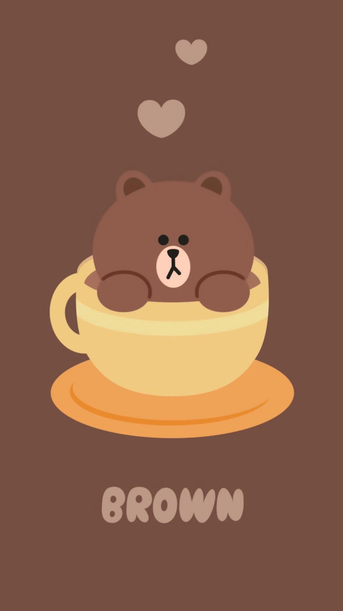 Pin Oleh Aekkalisa Di Line Friends Bg Lukisan Lucu Beruang Coklat Kartun