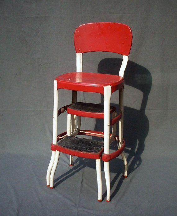 Vintage Cosco Metal Step Stool Chair By Urgestudio On Etsy