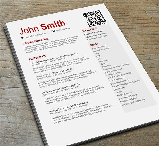 red resume template with qr code
