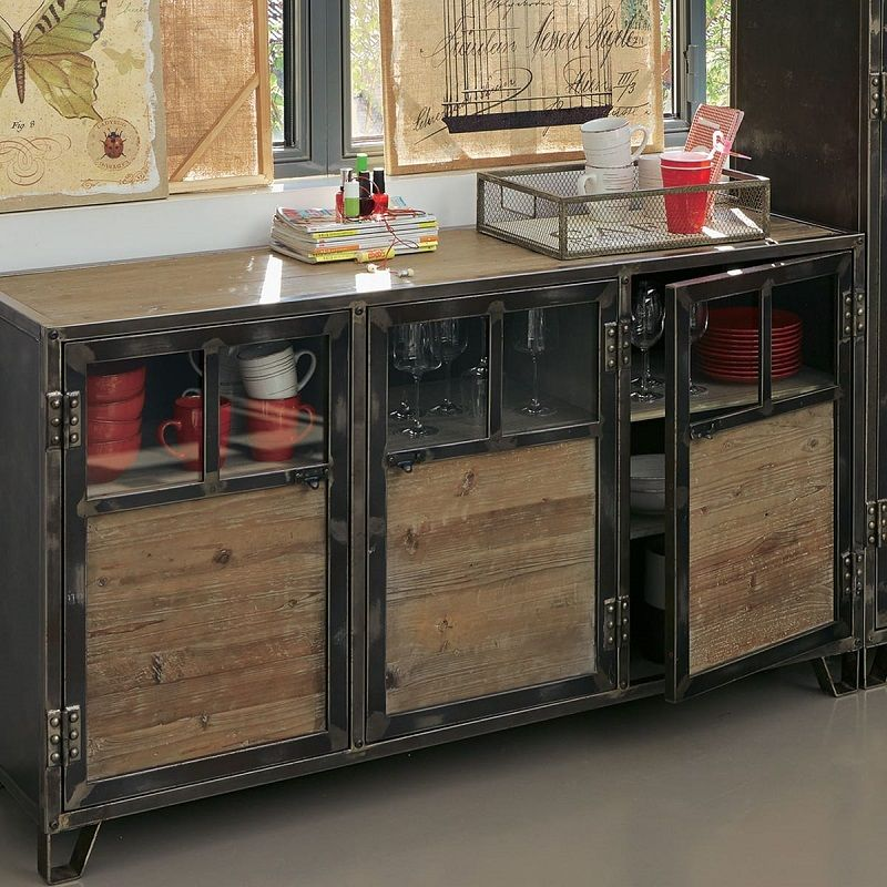 alinea ware buffet factory 3 portes en pin acier et verre pas cher prix promo buffet auchan 659. Black Bedroom Furniture Sets. Home Design Ideas
