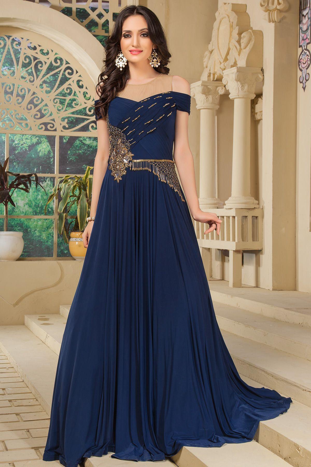 Navy Blue Silk Zardosi Embroidered Gown-GW609   Gowns   Pinterest ...