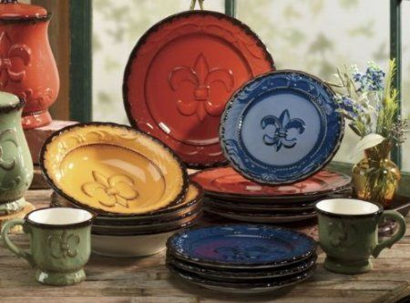 Wonderful Tuscany Colorful Hand Painted Fleur De Lis, 16pc Dinneware Set, 82016 By  ACK ACK