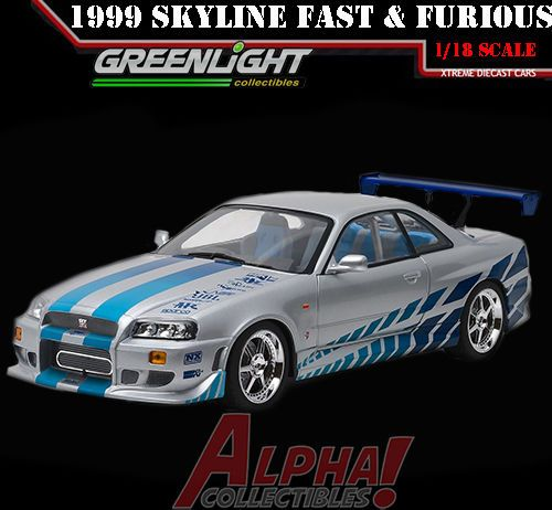 GREENLIGHT 19029 1:18 BRIAN'S 1999 NISSAN SKYLINE GT-R R34 FAST & FURIOUS 2003  #GreenLight #Nissan