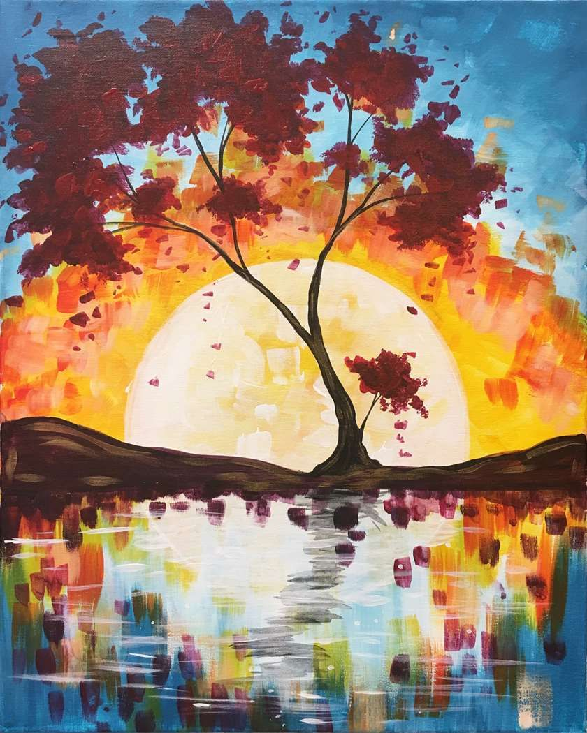 Let S Paint Drink And Have Fun Autumn Painting Painting Paint And Sip