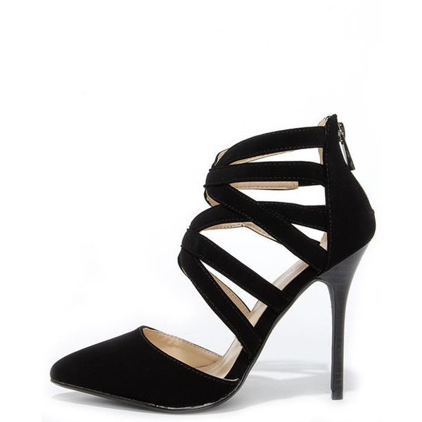 87c8ad3fd654 Anne Michelle Spiral 30 Black Suede Caged High Heels (275 HRK) ❤ liked on Polyvore  featuring shoes