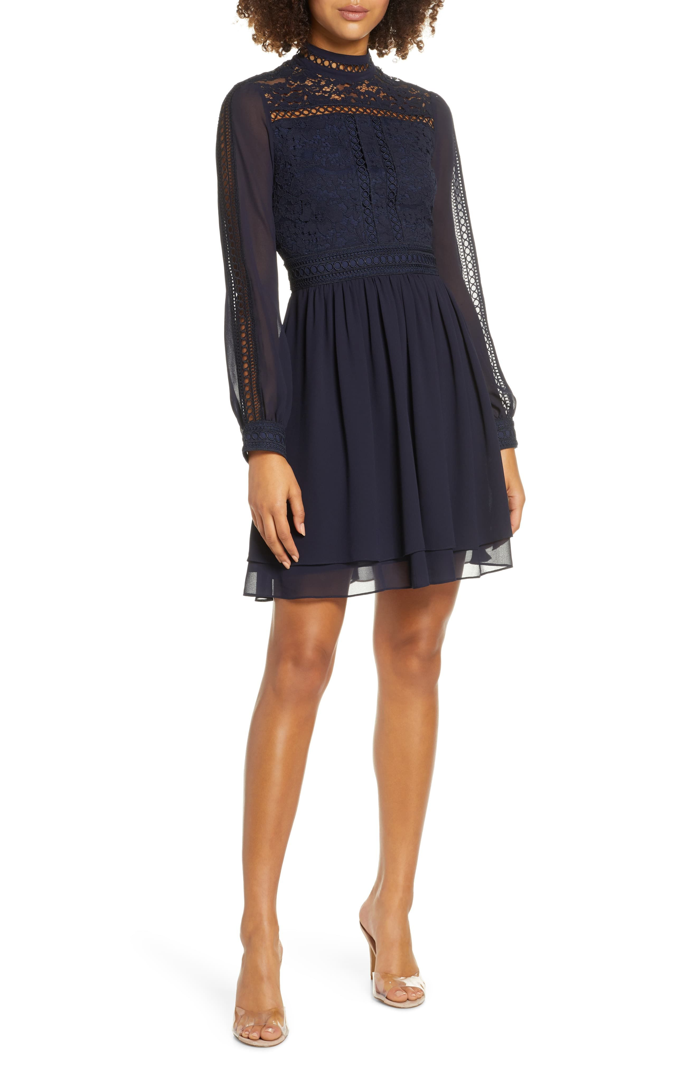 Ever New Laurina Long Sleeve Lace Fit Flare Dress Nordstrom Fit Flare Dress Flare Dress Long Sleeve Lace [ 4048 x 2640 Pixel ]