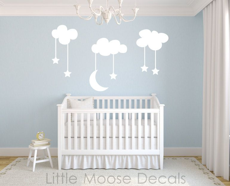 Children Wall Decal Night Sky Vinyl Nursery Decals Baby Room Clouds Stars Moon White