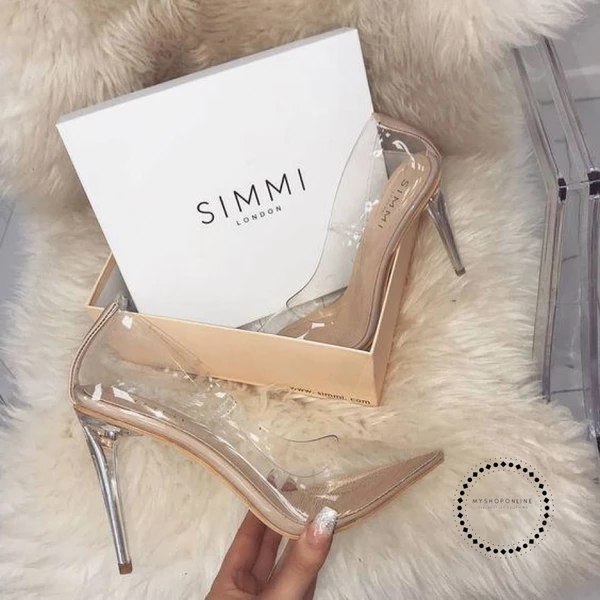 Transparent Pumps Sandals Perspex Heel Stilettos High Heels Point Toes – mysho... 13