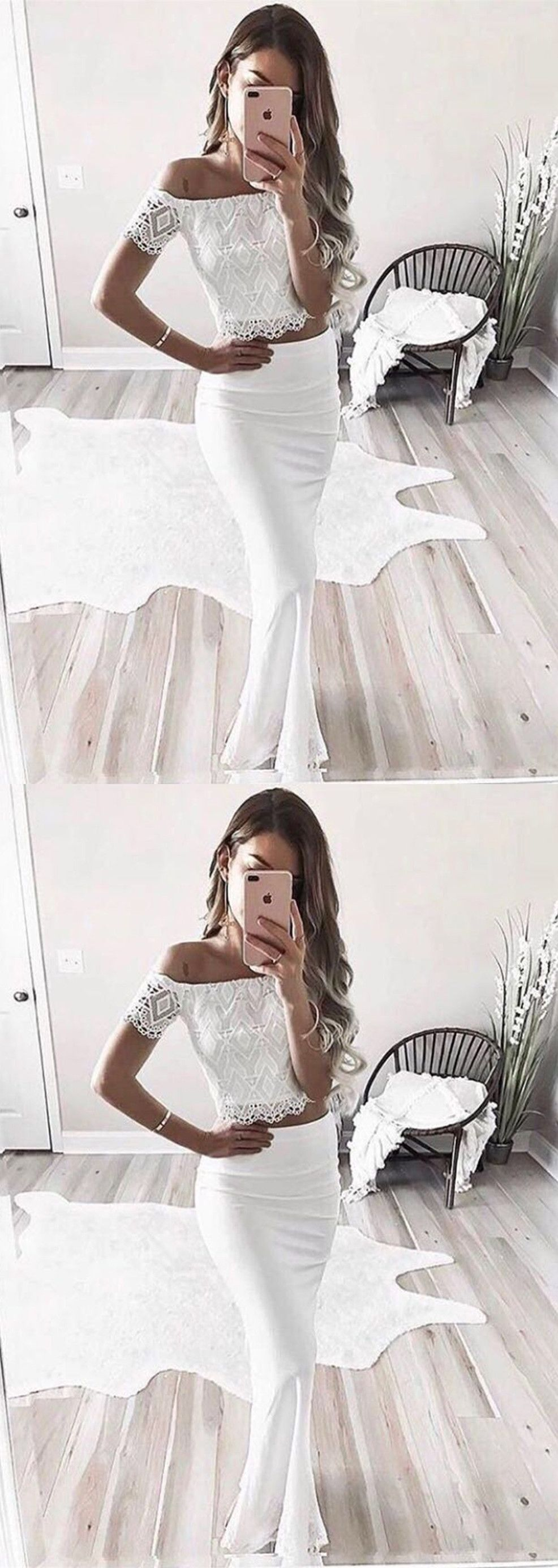 Two piece offtheshoulder short sleeves white prom dress with lace
