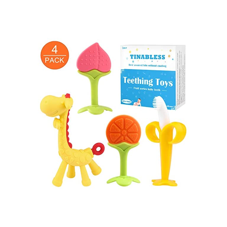 Tinabless teething toy (4 Pack) Baby teething toy Set/Baby-teether-chew-toy/Natu...