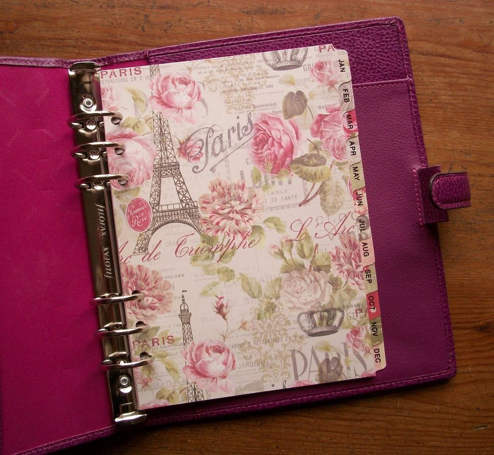 12 Month Dividers Made To Fit Filofax Paris Themed