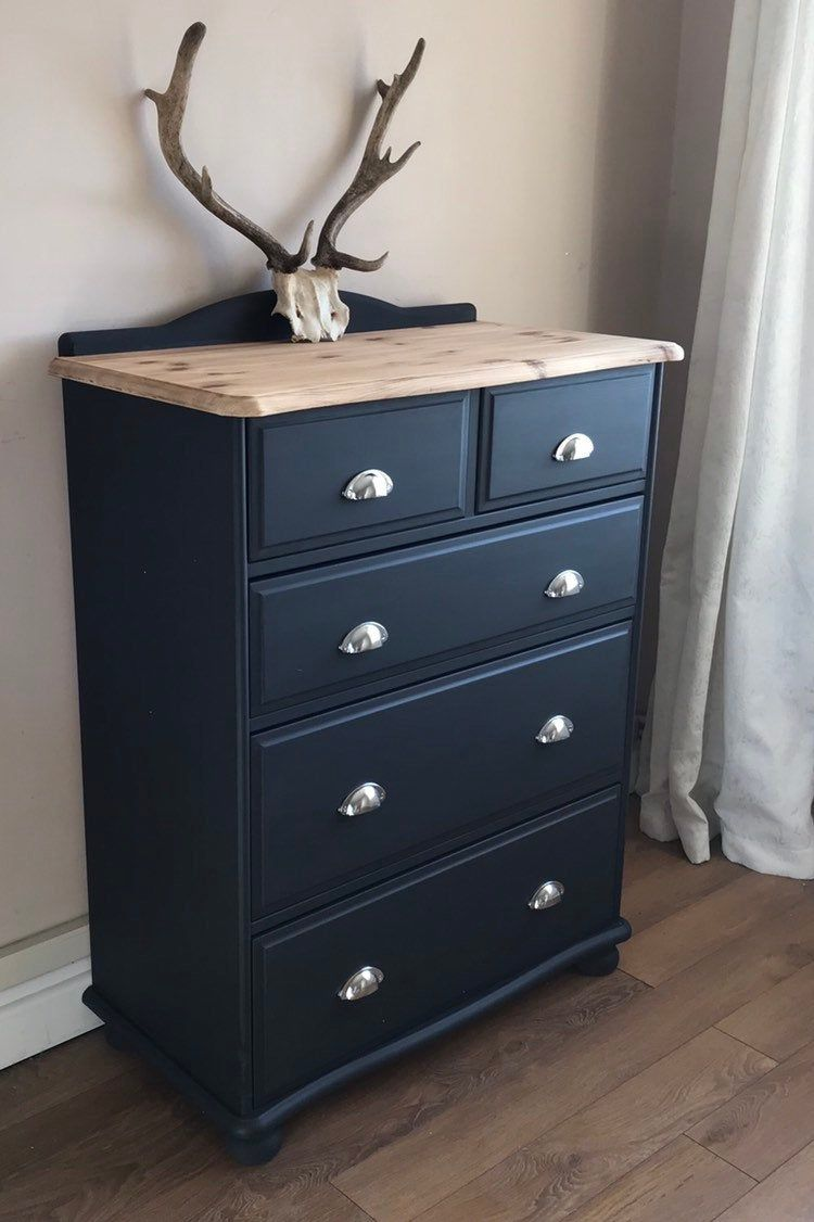 SOLD** Dark Grey Chest of Drawers, Upcycled Furniture, Graphite With Chrome Cup Handles