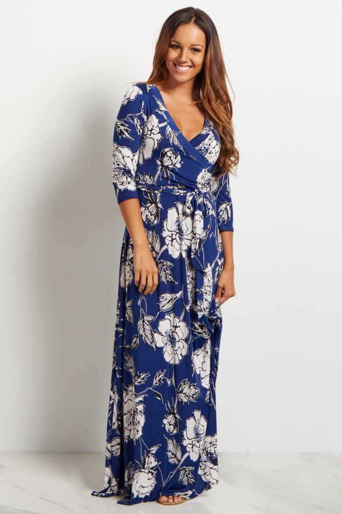 43680b76f3262 Royal Blue Rose Floral Sash Tie Maxi Dress