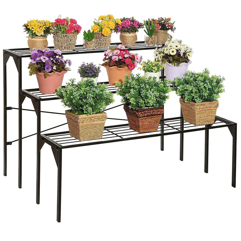 Large Modern Black Metal 3 Tier Shelf Flower Plant Display Stand Rack /  Freestanding Home Decor