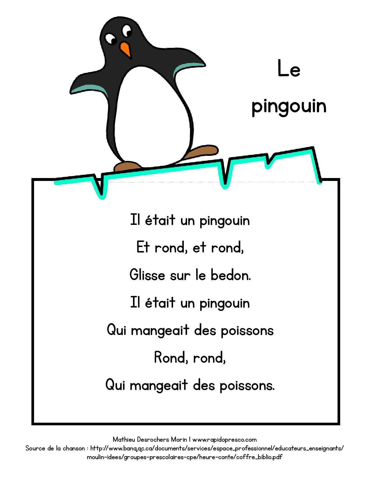 paroles de la chanson le pingouin hiver froid pinterest le pingouin la chanson et. Black Bedroom Furniture Sets. Home Design Ideas