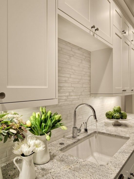 Kitchen Backsplash And Countertop Like The Color Of The Counter Top It Also Has The Garbage With Images