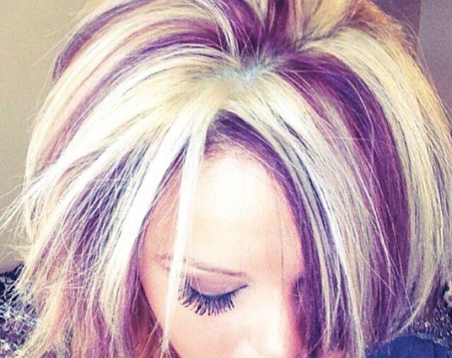 Chunky High Lowlights Purple Blonde Hair Hair Streaks Plum Hair