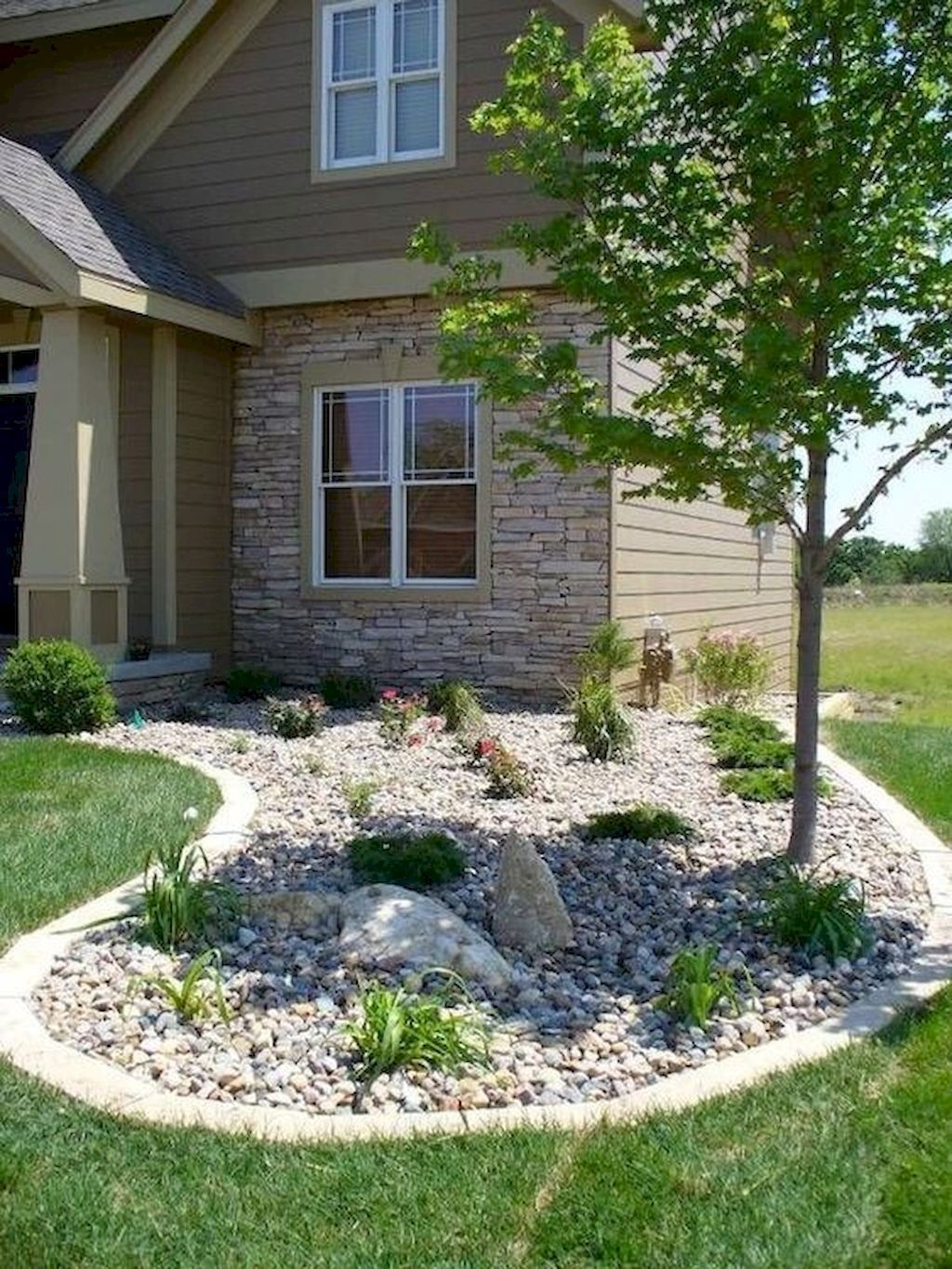 47 Simple Low Maintenance Front Yard Landscaping Ideas Stone