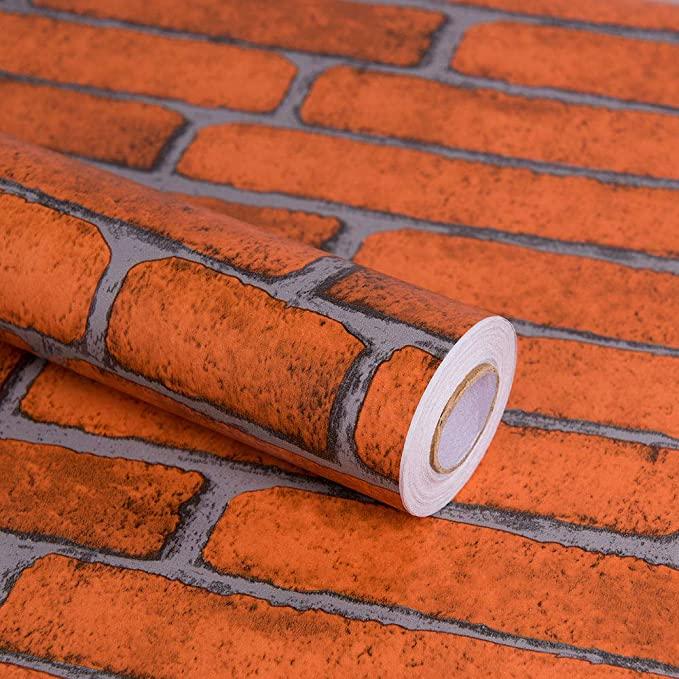 "Orange Brick Peel and Stick Wallpaper, 17.7"" x 197 ..."
