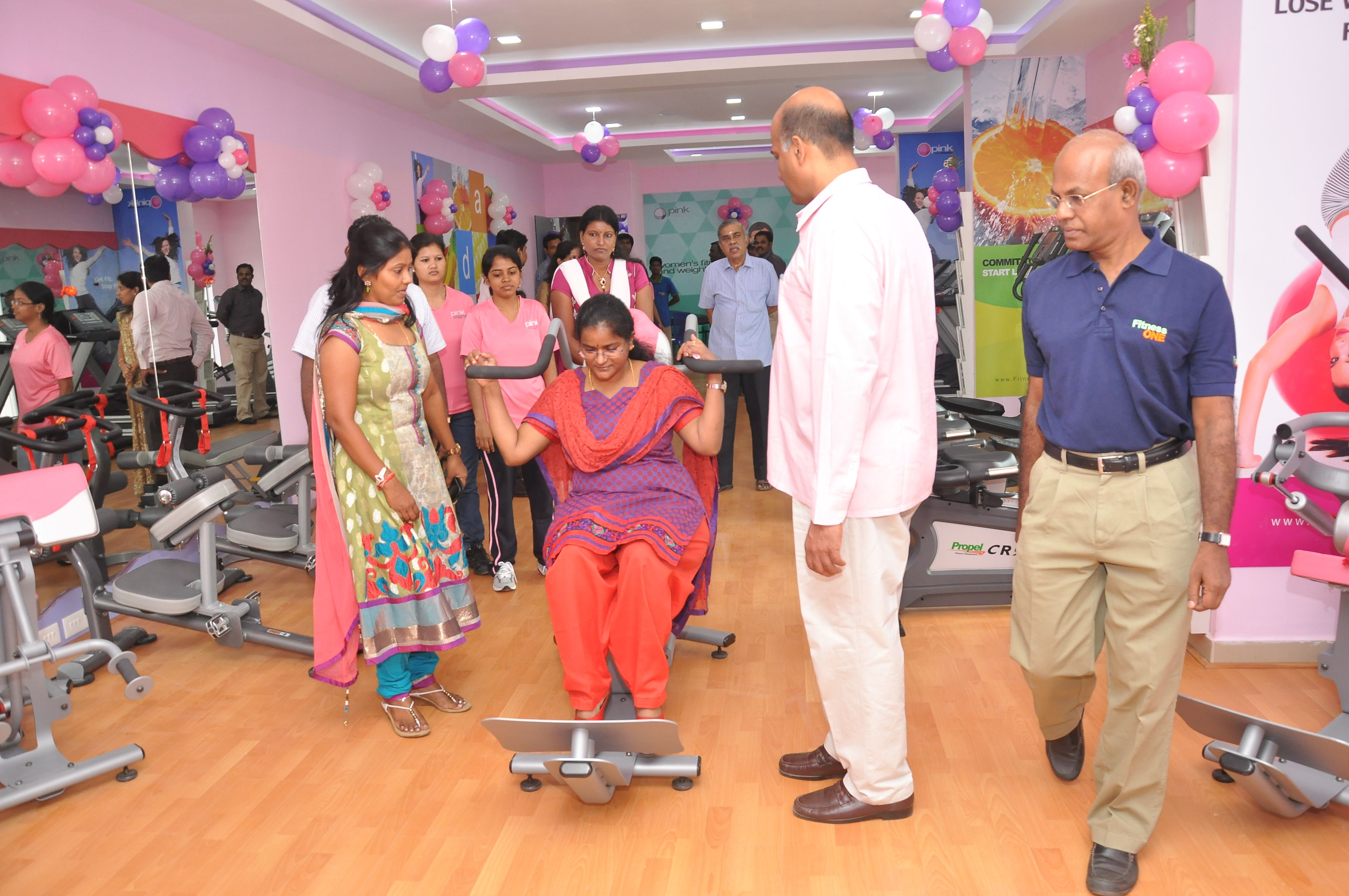 Chief guest tries our equipment fitness one md kavitha
