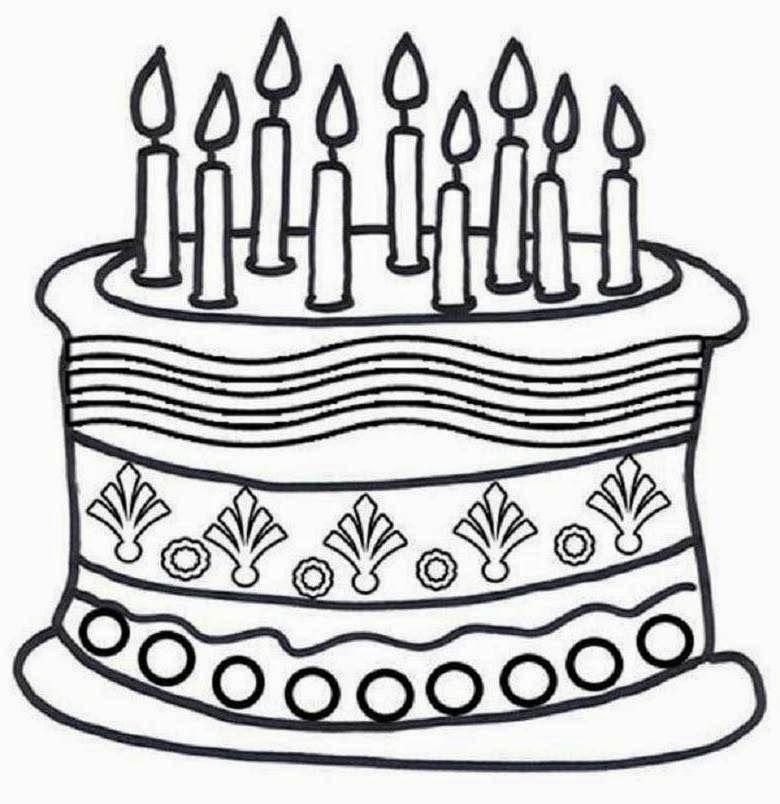Colour Drawing Free Wallpaper: Birthday Cake Printable