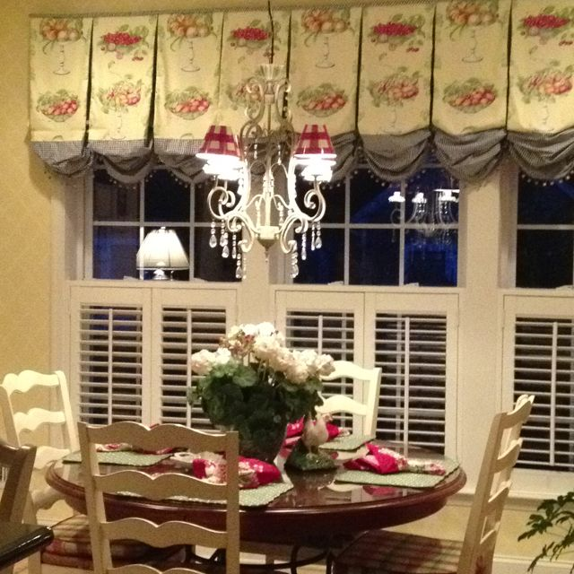 French country Kitchen window treatments | Country window ...