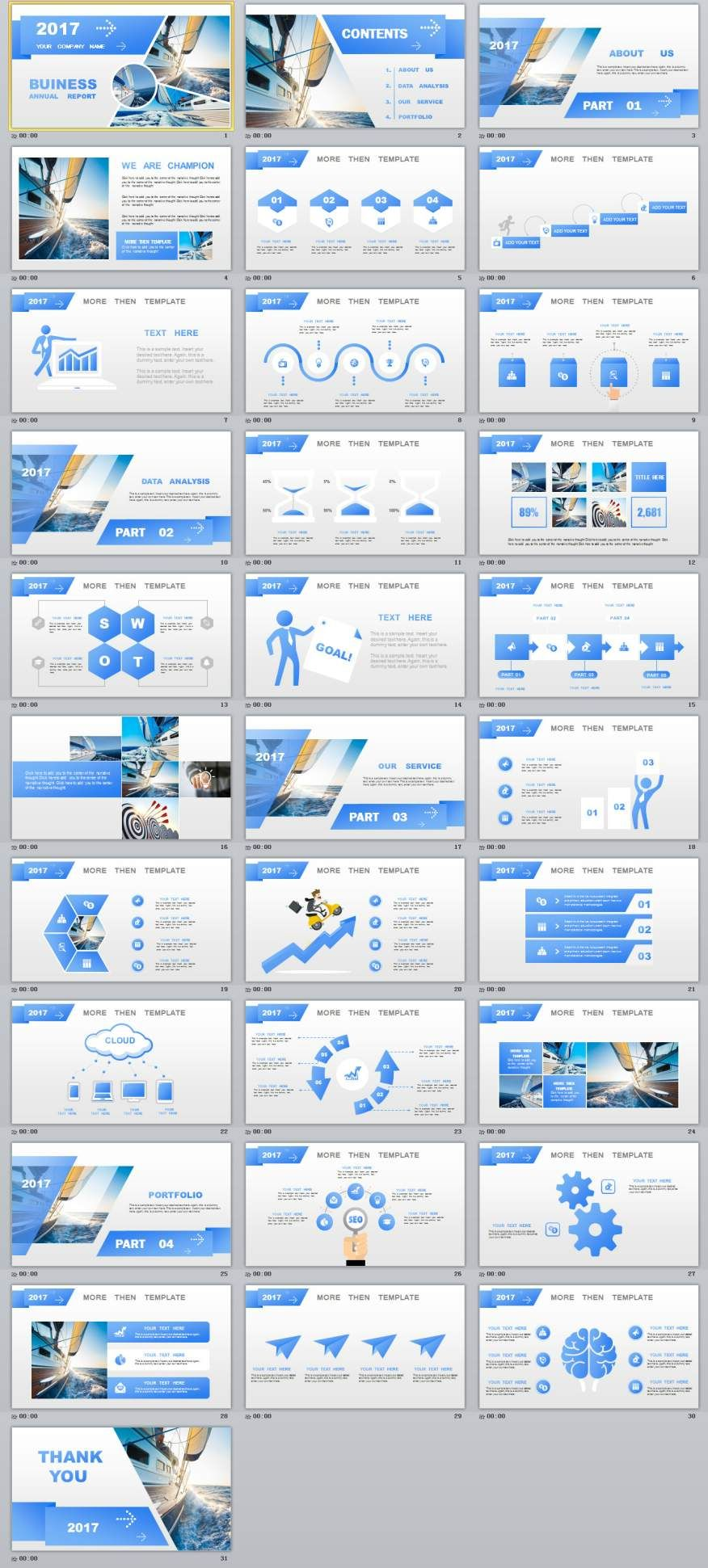 Blue Year Report Charts Powerpoint Template Powerpoint