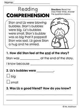 Comprehension Worksheets For Grade 1 Free With Images 2nd