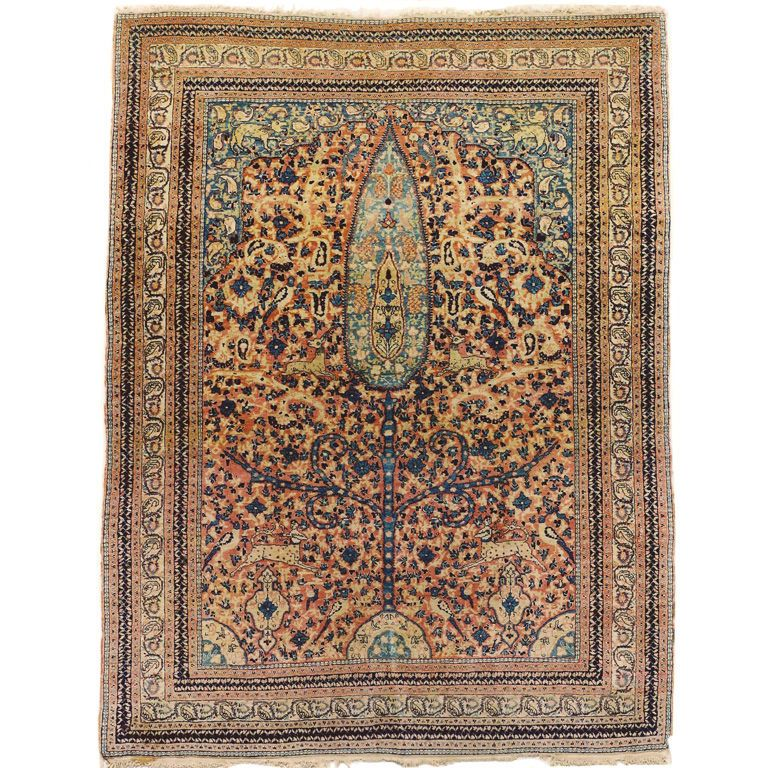 Hadji Jalili Tabriz Animal Pictorial Rug Antique Persian Carpet Tabriz Rug Rugs