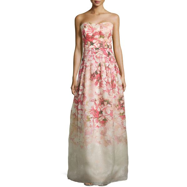 Kay Unger New York Strapless Floral-Print Ball Gown ($194) ❤ liked ...